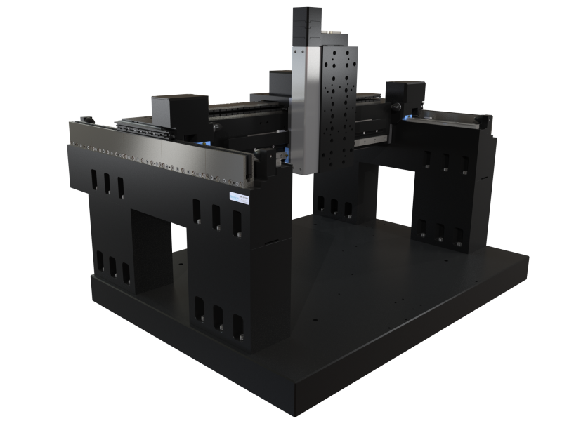 Precision XYZ Motion System with Ironless Linear Servo Drive, Recirculating Linear Guide Ways, and Linear Encoder