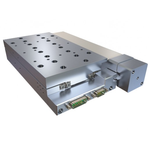 High precision linear stage for vacuum use, with glass scale optical encoder