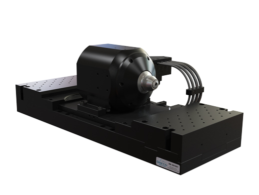 High loading capacity 100mm travel linear motion laser rotary stage with brushless DC motor.